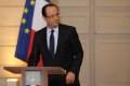 ce's President Hollande eaves after delivering a statment on the situation in Mali at the Elysee Palace in Paris
