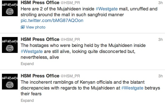 shabaab tweets on westgate