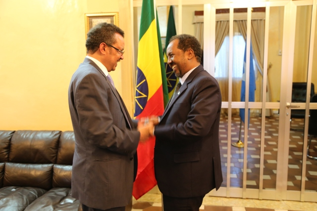 Ethiopia Foreign Affairs Minister Tedros Adhanom and Somali President Hassan Sheikh Mohamud