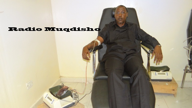 Acting Interior Minister donating blood