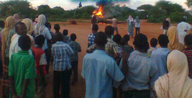 Shabaab burning Ethiopian alcohol