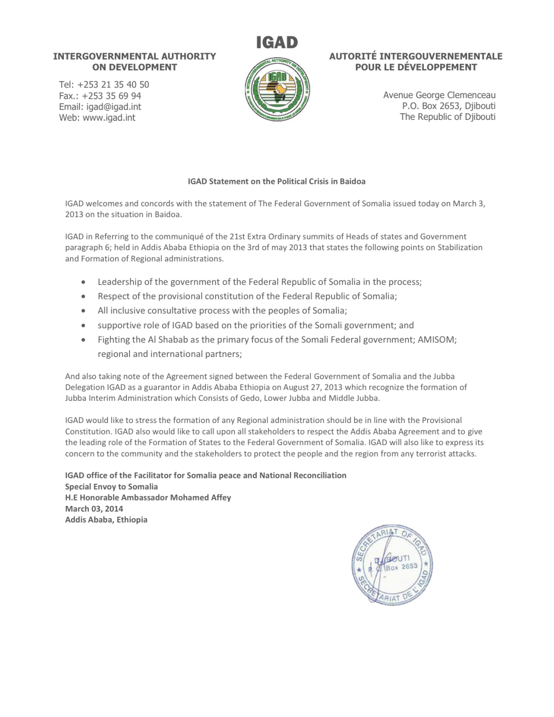 igad statement on crisis