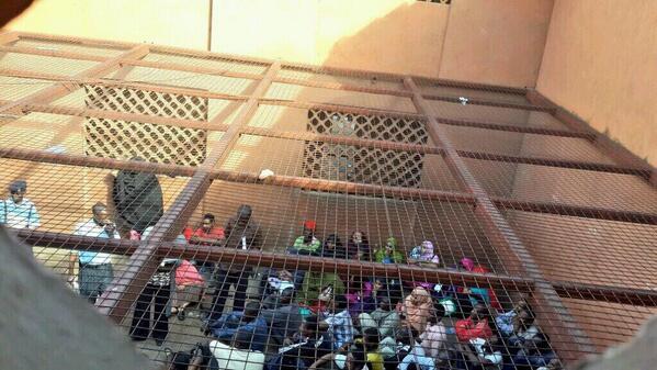 Detainees at Kasarani Stadium