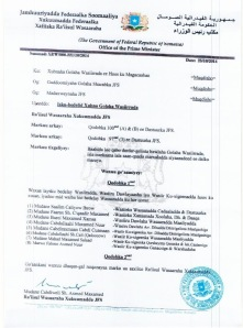 Official announcement of PM's cabinet re-shuffle. Credit: Radio Muqdisho
