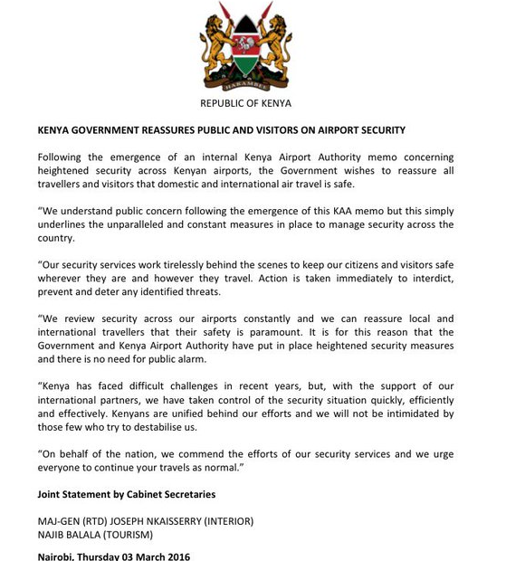 KE statement on airport security