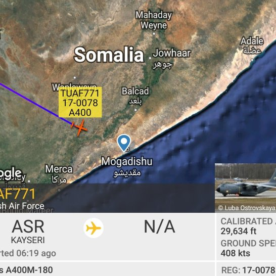 Turkish AF approach to Mogadishu. Credit @gdarkconrad on Twitter.